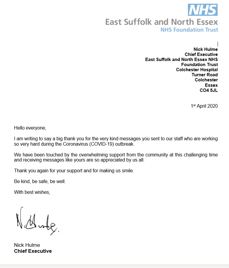 Letter from NHS